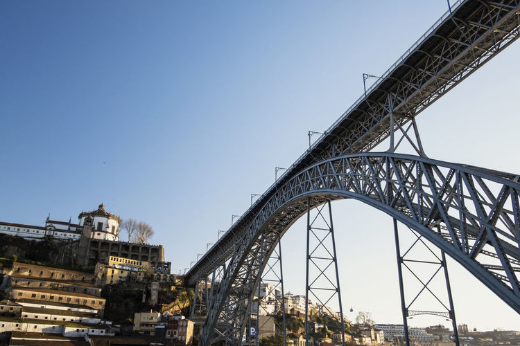 Maria Pia Bridge, Porto, Portugal Maria Pia Bridge Ponte Dona Maria Ponte Maria Pia Architecture Bridge - Man Made Structure Building Exterior Built Structure City Clear Sky Connection Day Eiffel Gustave Eiffel Low Angle View No People Outdoors Sky Travel Destinations