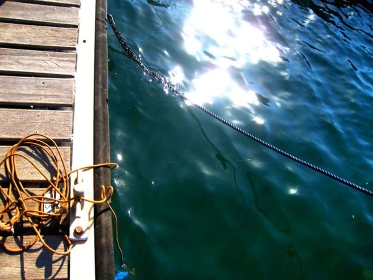 Jetty Rope Sunonthewater Water Reflections Vulcano Sicily Italy Wooden Decking Sea