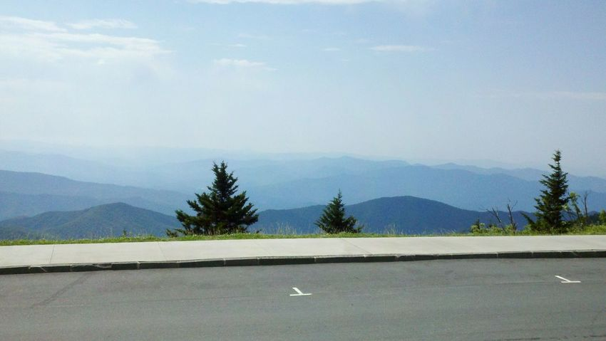 Scenic parking spots with view of undulating and overlaping ridgelines. Near the top of Clingmans Dome in Great Smoky Mountains National Park . Summer 2012. Blue Mountains Scenic Mountains Tennessee Blue Ridge Mountains