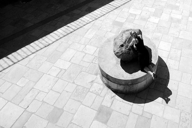 Worshipping The Stone High Angle View Day Sunlight Stone Shadow Paving Stone City Outdoors Street Flooring Tiled Floor Tile Blackandwhite Black And White Worship