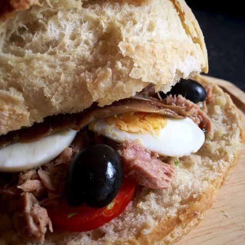 My Tuna Pan Bagnat... Tuna Bagnat Homemade Bread Tuna Salad Food Photography Foodblogger Foodblog Foodgasm Foodphotography Picnic Food