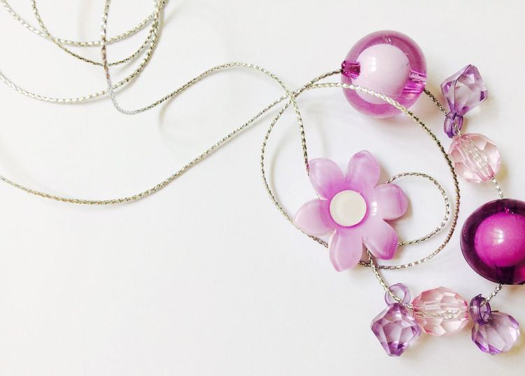 My violet tone beads Bright Celebration Curve New Year Close-up Design Elégance Fashion Flower Greetings Indoors  Jewelry Lines And Shapes Necklace No People No People, Pearl Jewelry Pink Color Pinkpurple Still Life Studio Shot Sweet Violet Wallpaper White Background