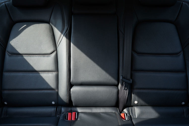 High angle view of empty seat in car