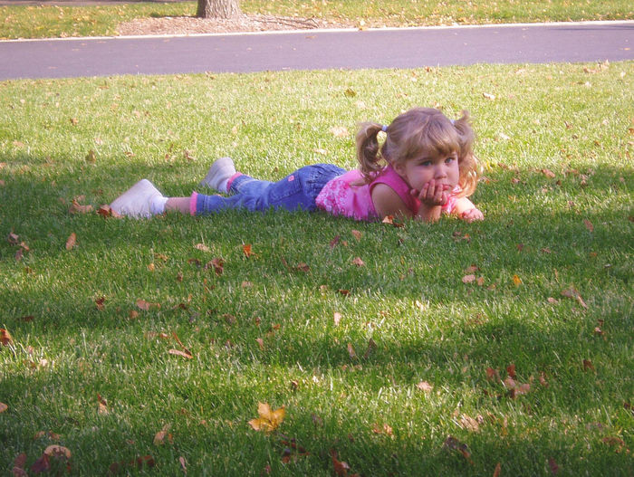 pouty face Cute Girl Grass Lawn Lying Down Park Pig Tails Pout Relaxation Toddler  Toddlerlife