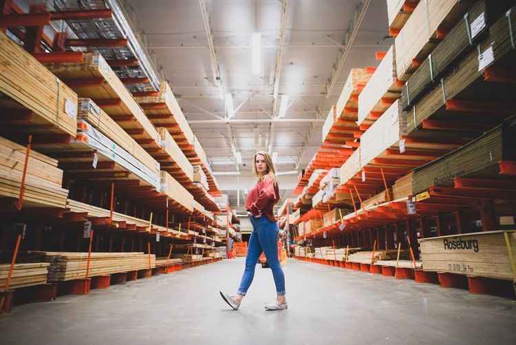 🍊 Portrait Beautiful Industrial Home Depot Full Length One Person Indoors  Casual Clothing Looking At Camera Real People Warehouse EyeEmNewHere