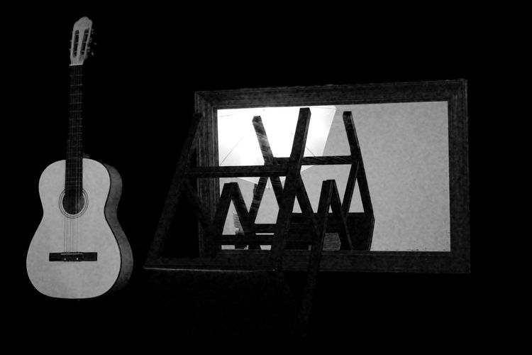 Black & White Photography Day Grainy Images Guitar Indoors  Mirror No People Stools Wooden