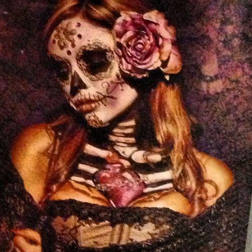 Dayofthedeadart Maskart Goth Victorian skeleton paintedface