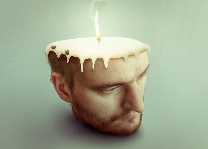 Stressed sad man burning candle in his head Dark Stress Work Working Hard Beard Birthday Candles Body Part Burning Candle Close-up darkness and light Facial Hair Fire Flame Headshot Health Care And Medical Help Human Body Part Human Face Mental Mental Illness One Person Portrait Stressed Too Much