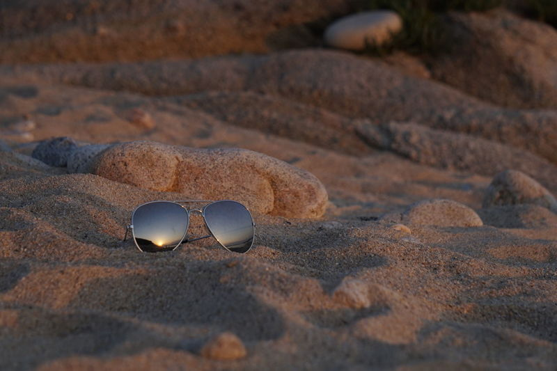 Glasses Sunglasses Fashion No People Still Life Close-up Personal Accessory Nature Day Land Sunlight Sand Outdoors Focus On Foreground Ouranoupolis Beach