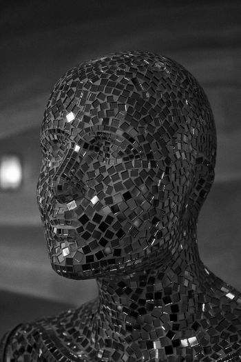 Manakin Mosaic Glass Androgynous Androgyny Futuristic Creativity Pattern Pieces Mirrors Structure Bejewelled Head And Shoulders HEAD Dummy Mosaic Art Mosaic Tiles Mosaics Robotic Face Black And White Monochrome Mosaic Creative Human Meets Technology The Innovator Pivotal Ideas