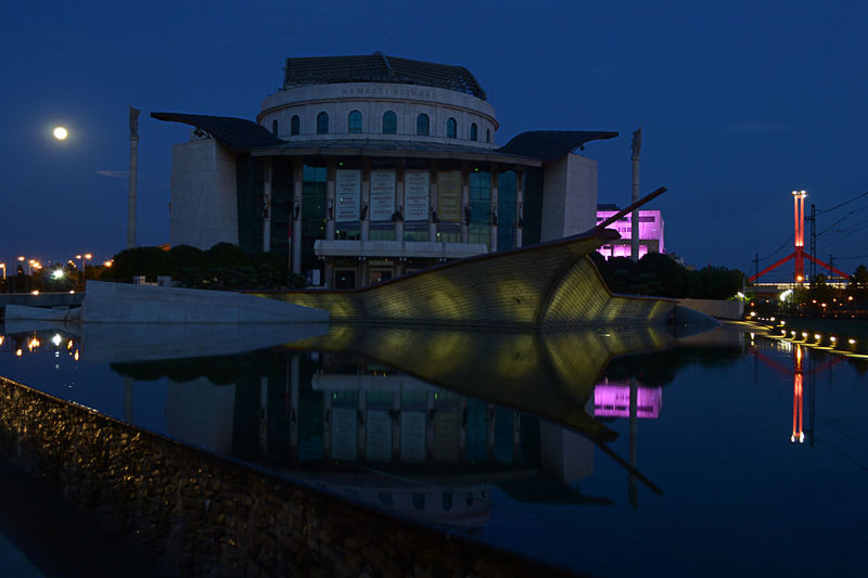 Architecture Budapest, Hungary Building Exterior Built Structure City Colourful Moonlight Nationaltheatre Night Nightshot No People Outdoors Reflection Streetphotography Travel Destinations Water