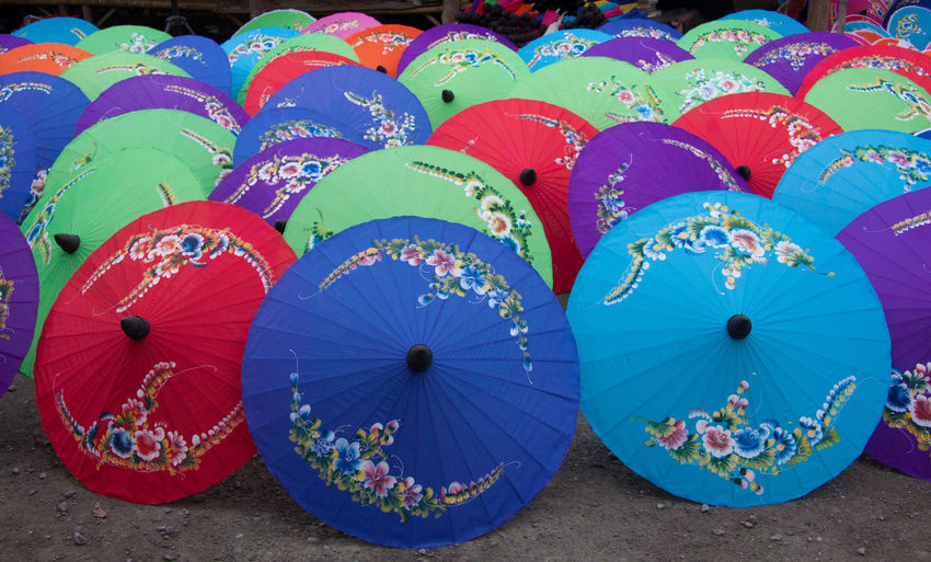 Close-up of multi colored umbrella