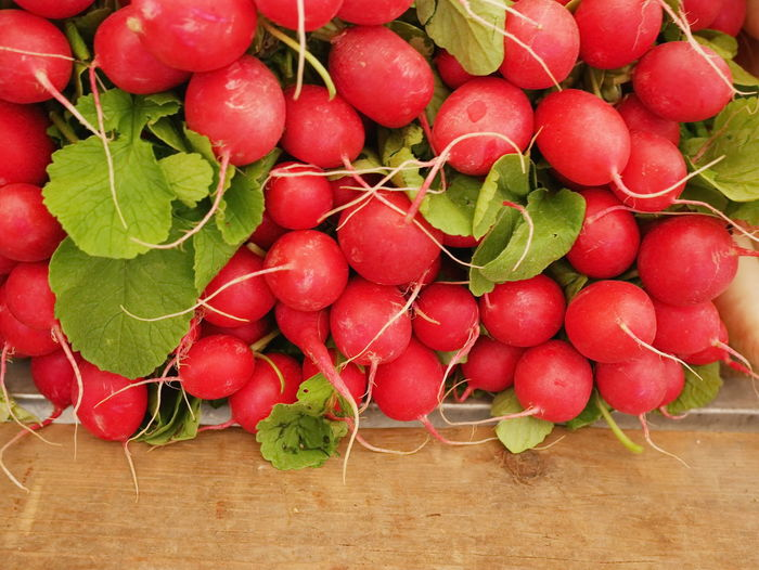 High Angle View Of Radishes For Sale At Market