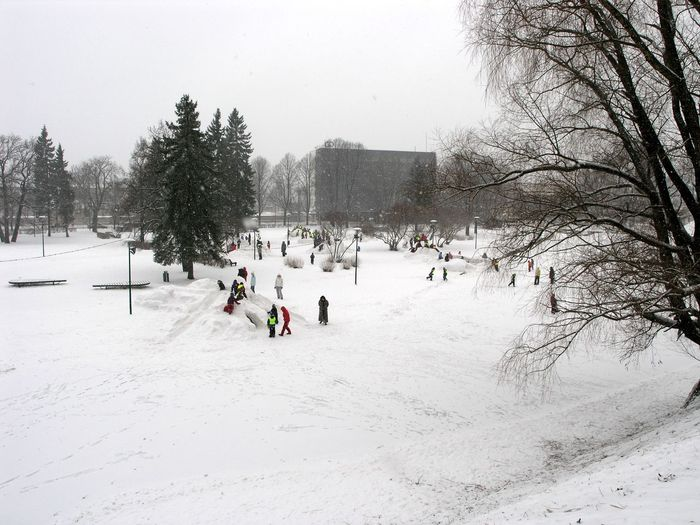People on snow covered landscape against sky