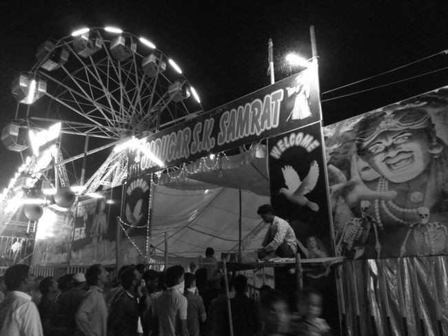 Monochrome Photography Enjoyment Large Group Of People Night Outdoors Mobile Photography Ferris Wheel Fairground Giant Wheel Local Magic Show Arts Culture And Entertainment Black & White Entertainment Dashera Mela