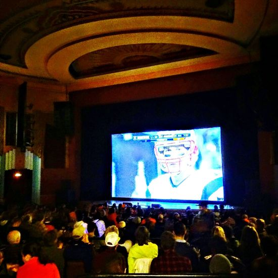 Football Boulder Colorado Winter theater Hanging Out Broncos fun Playoffs Team Big Screen crowd Enjoying Life Party Time! Historical Building Historic Theatre