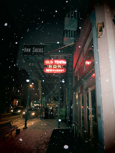 NEW YORK CITY - 2 FEBRUARY 2015: Snowflakes drifting down on cold winter's night in front of Old Town Bar on 18th Street, near Union Square, Manhattan. Old Town Bar remained open during Prohibition. Bar Building Exterior City Neon Neon Lights New York City New York City Bars Night Night Photography Nightlife Nighttime Nighttime Lights NYC NYC Photography Old Town Bar And Restaurant Outdoors Pub Restaurant Snow Snowing Winter