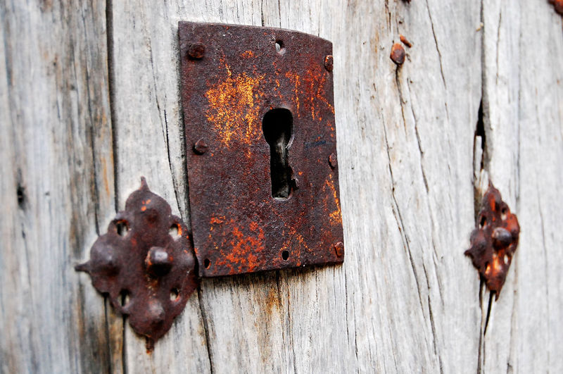Old castle door. Madrid. Spain. Antiques Bad Condition Broken Close-up Deterioration Dirty Door Geometry Key Lock Metal No People Old Old Castle Door Padlock Protection Rusty Safety Security Weathered Wood Wooden