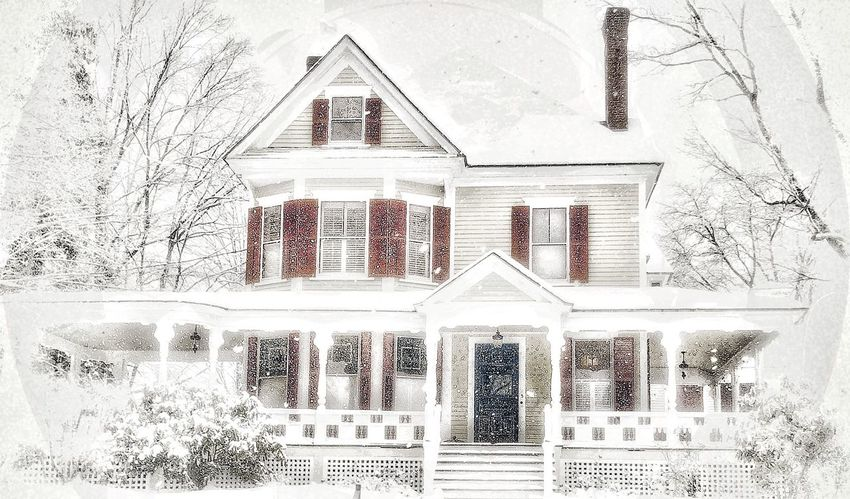 New England large house in the winter time. Trees covered with snow, Victorian Style Home in New Hampshire with large porch and large windows. New Hampshire, USA Snow Falling Down Large Snowdrops Cloudy Sky Snow Storm Snow Flakes ❄⛄ New England Charm Older Houses Old Victorian Home Outdoor Photography No People Pattern Indoors  Architecture Built Structure Creativity Close-up Wall - Building Feature White Color Full Frame Backgrounds Design