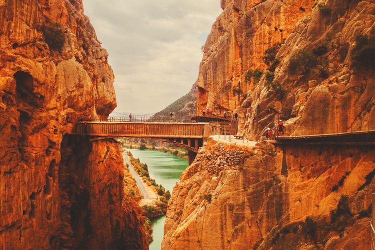 Bridge crossing rock formations