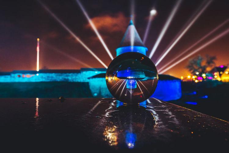 Kaunas castle through a glass ball City City Life Creativity Crystal Ball Glass Ball Kaunas Castle Lights Nightphotography Nikon D750 Building Exterior Festival Festival Of Lights Lights Festival Long Exposure Public Places