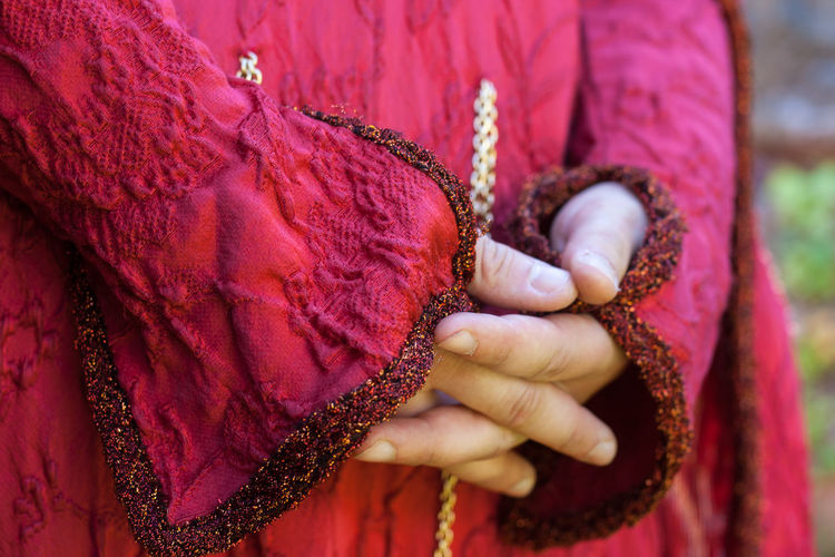 bride's dress.. l'abito della sposa Human Hand Hand Historical Dress Jewelry Finger Human Body Part Close-up Red Traditional Clothing Bride