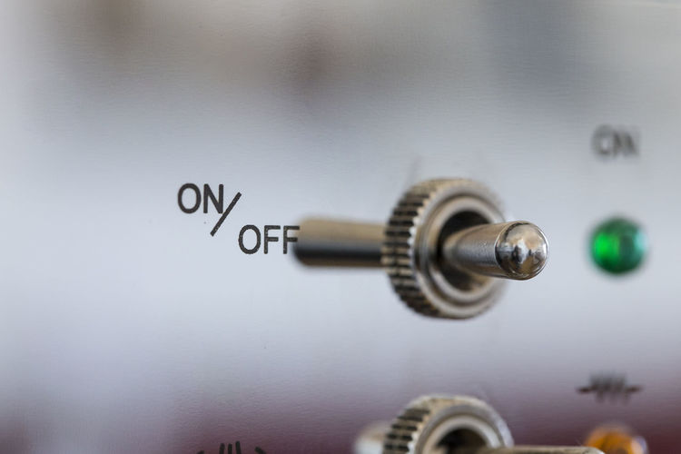 Button On Off Close-up Control Panel Industry Metal No People On Off Switch Switch Technology Text