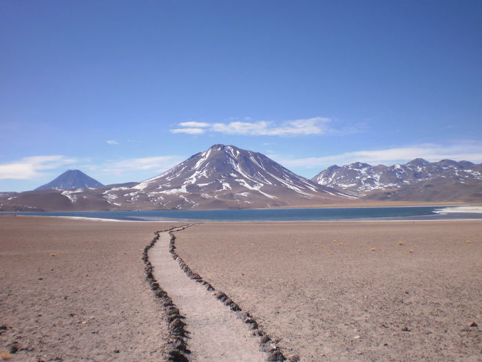 Scenic view of desert at san pedro de atacama against sky