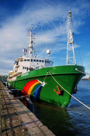 Bordeaux Greenpeace Boat Cloud - Sky Day Mode Of Transport Moored Nautical Vessel No People Outdoors Sea Ship Sky Transportation Water