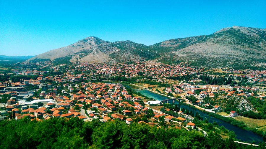 Trebinje Mountain Architecture Building Exterior Built Structure House Clear Sky High Angle View Tree Residential Structure Town Residential District Residential Building TOWNSCAPE Cityscape Blue Grass Mountain Range City Crowded Travel Destinations