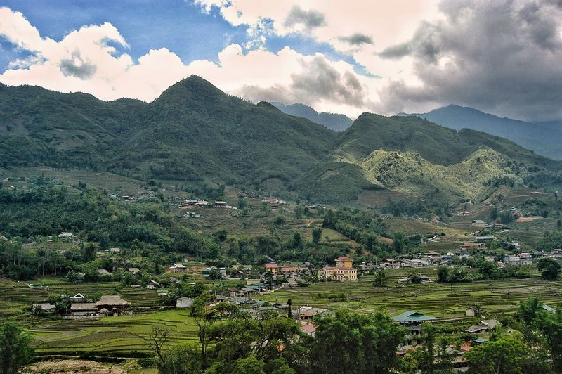 Vietnam Sapa Mountain Plant Tree Beauty In Nature Scenics - Nature Landscape Growth Environment Sky Mountain Range Nature Tranquility Tranquil Scene No People Cloud - Sky Day Architecture Land Green Color Agriculture