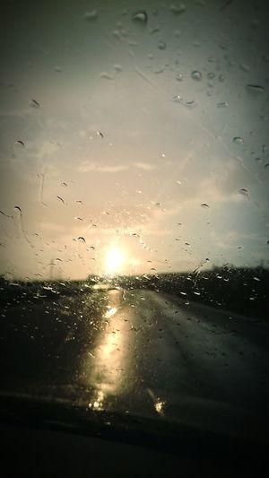 Cloads Driving Road Sun Raining