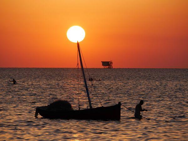 Kerkennah Tunisia Sunset Sea Crimson Red Mediterranean  Island