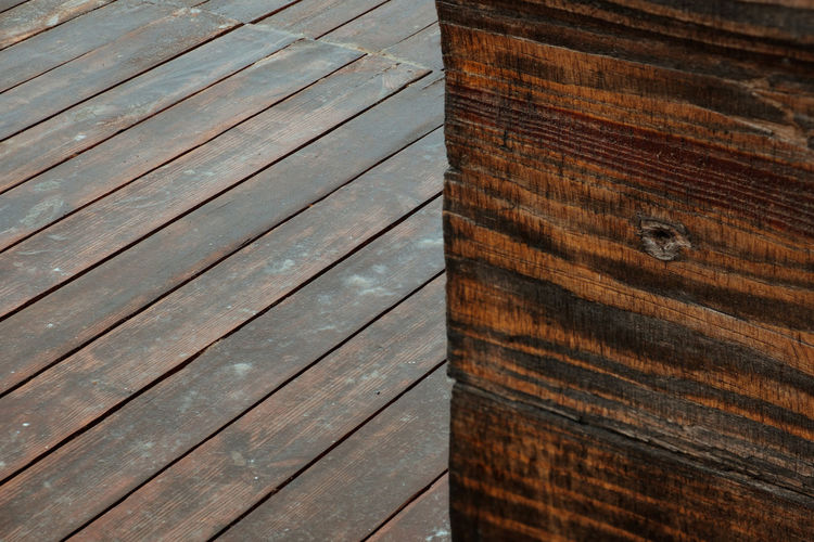 Wet wood texture in focus Wet Wood - Material Pattern Brown Full Frame No People Backgrounds High Angle View Close-up Flooring Outdoors Boardwalk Floorboard Wood Grain Wood Paneling Textured