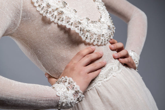 Detail of white knitted dress Dress Elegant Elégance Fashion Part Of Stylish White Dress Beauty Close-up Closeup Clothes Cotton Detail Elements Female Gorgeous Handmade Knitted  Knitted Dress Laces Style Swarovski Swarovski Crystals Women