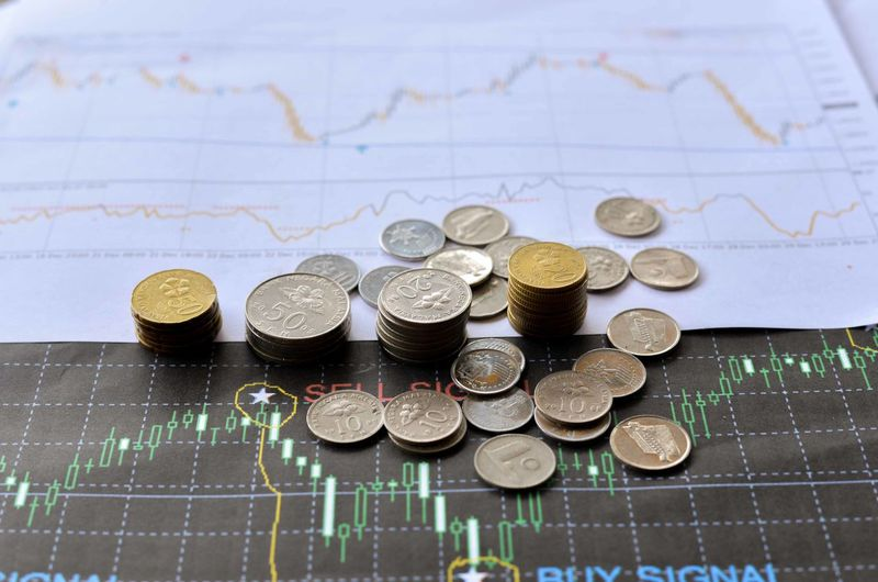 Mixed Malaysian Ringgit coins on financial graph background. Business concept. Bitcoin and Forex trading investment concept. Chart Close-up Coin Currency Day Diagram Finance Graph Indoors  Large Group Of Objects Map No People Savings Wealth