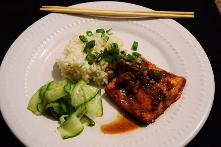 Cucumber Salad Food Food And Drink Freshness Ginger Ri Healthy Eating Indoors  Plate Ready-to-eat Serving Size Teriyaki Salmon
