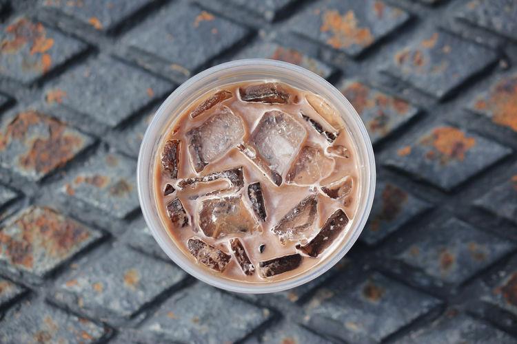 High angle view of ice tea