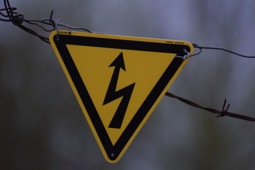 ⚡️ 18.04.2018 April April2018 Day Electricity  Focus On Foreground Information Metal Nature No People Outdoors Representation Safety Sign Warning Sign Warning Symbol Yellow