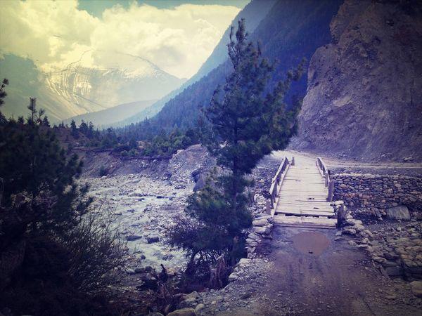 Mountain View Bridge Manang Nature