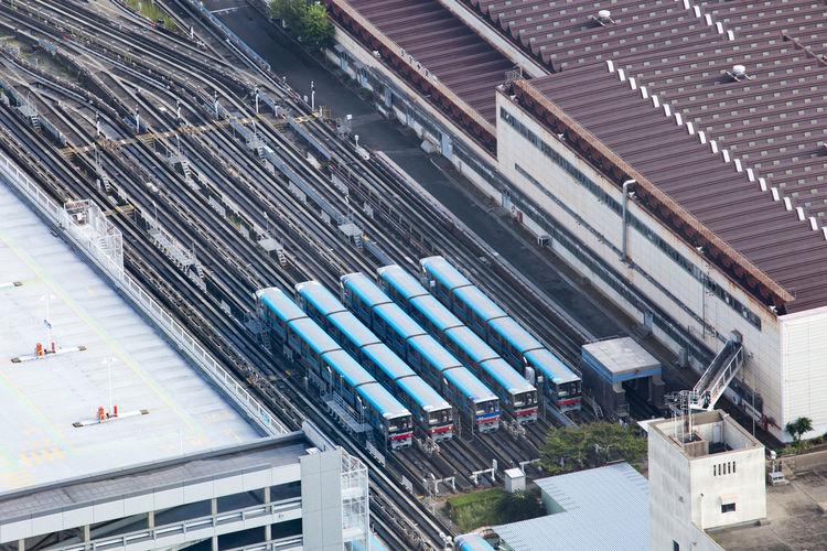 High Angle View Of Trains At Shunting Yard