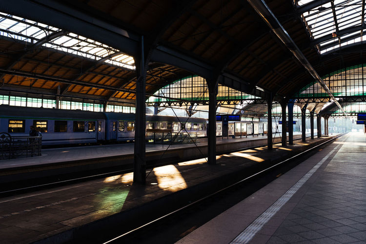 Railway Station Rail Transportation Transportation Railroad Station Railroad Track Track Mode Of Transportation Public Transportation Railroad Station Platform Train Indoors  Architecture No People Train - Vehicle Built Structure Day Window Travel Glass - Material Empty Ceiling Platform Station The Street Photographer - 2019 EyeEm Awards