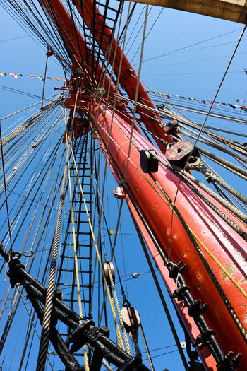 Red Tall Ships Low Anglöe View Mast Rigging Sailing Sea Tall Ship Details