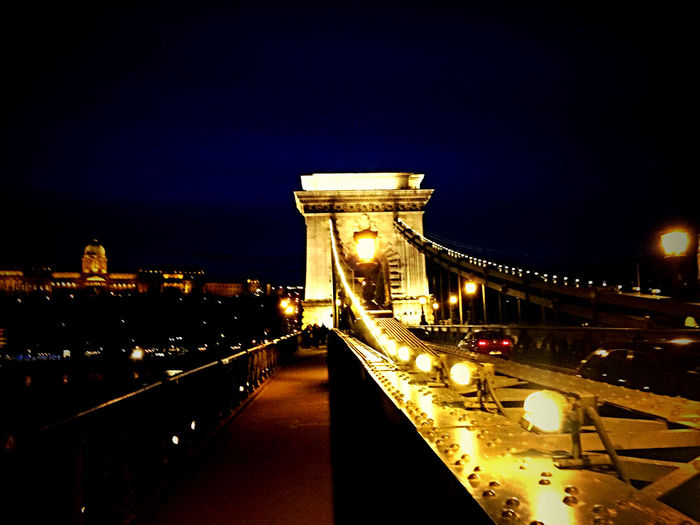 Chain Bridge Danube Nightphotography Urban Landscape