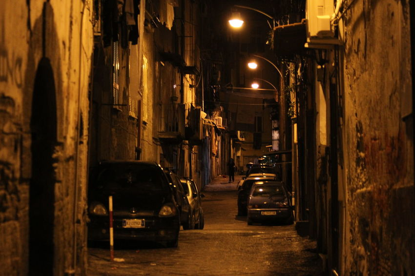 Secluded Street Cobbled Streets Illuminated Italy Napoli Night No People Outdoors Street Light