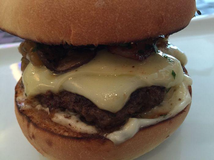 The double jackpot burger - beef patty, double Swiss cheese, cremini mushrooms, foie gras, caramelized onions, double smoked bacon, truffle mayonnaise, arugula, balsamic glaze, truffle olive oil Foodspotting