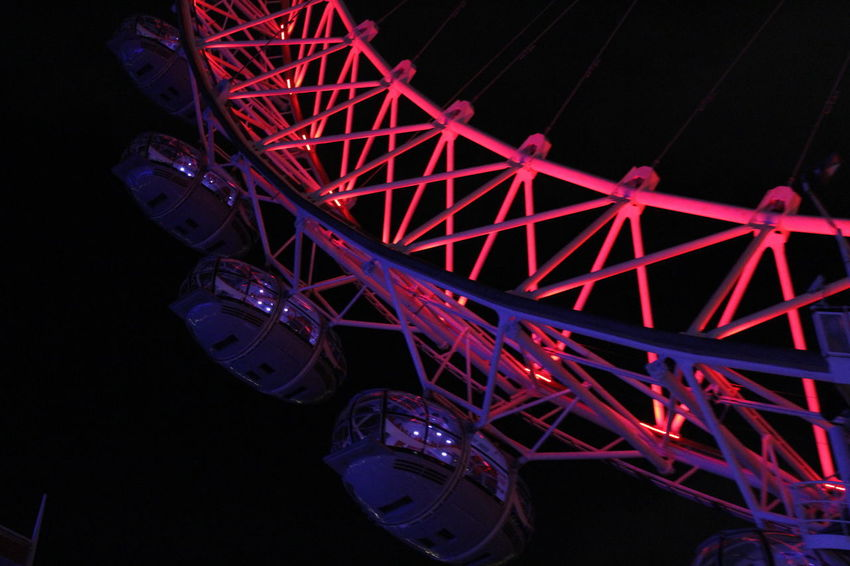 Ferris Wheel Night Illuminated Fun Red Nightlife Outdoors No People London City Vacations Vacantion Travel Destinations Londoeye HUAWEI Photo Award: After Dark Be Brave