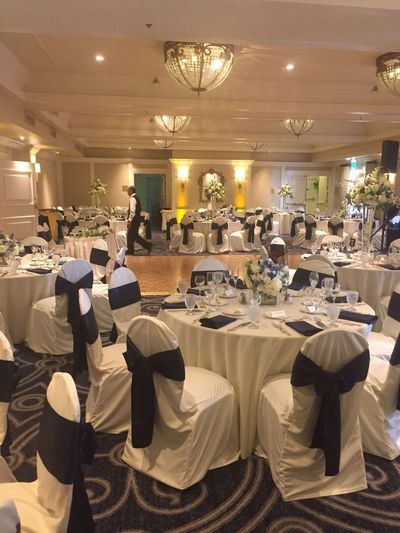 One of our banquet rooms getting ready for a wedding reception