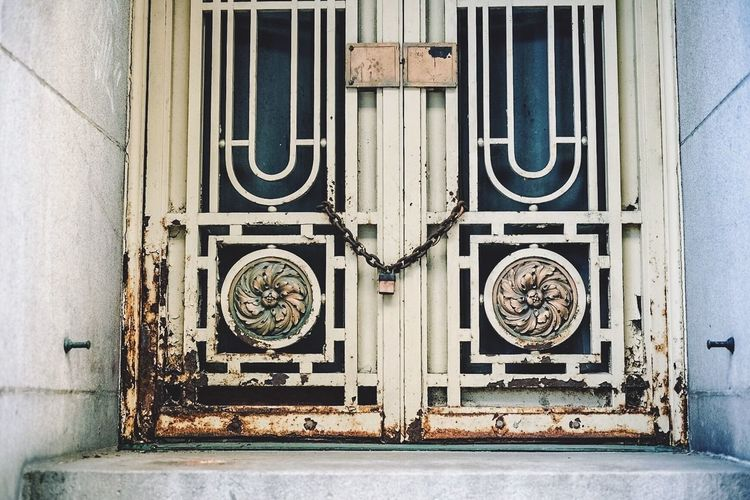 Architecture Bad Condition Building Exterior Built Structure Closed Day Design Door Entrance Full Frame Geometry Metal No People Old Old-fashioned Ornate Protection Safety Wall