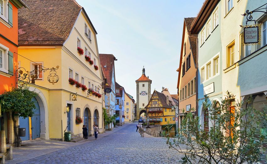 Morning in Rothenburg Austria Kärnten Outdoors EyeEm Selects City Cityscape Street Sky Architecture Building Exterior Built Structure Old Town TOWNSCAPE Bell Tower Place Of Interest Tiled Roof  Town Town Square Alley vanishing point Façade Diminishing Perspective Housing Settlement